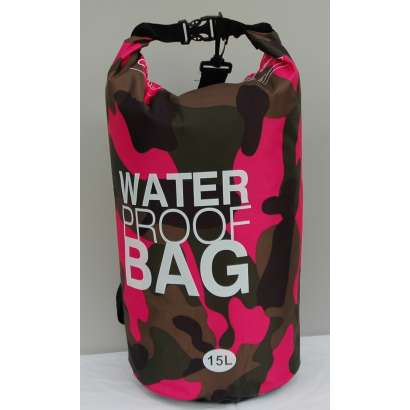 Dry bag Water proof 15 L military roze